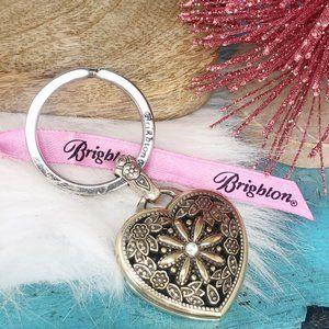 Brighton Floral Heart Locket Pendant Key Fob Ring